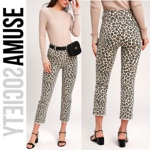 🆕 Amuse Society Beige Leopard High Rise Jeans